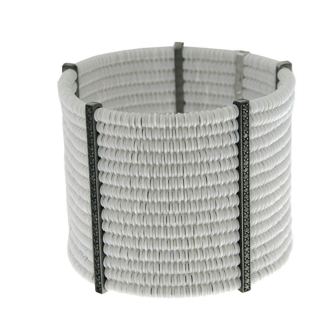 Bracciale 15 file di ceramica bianca con cinque elementi in diamanti neri - ROBERTO DEMEGLIO