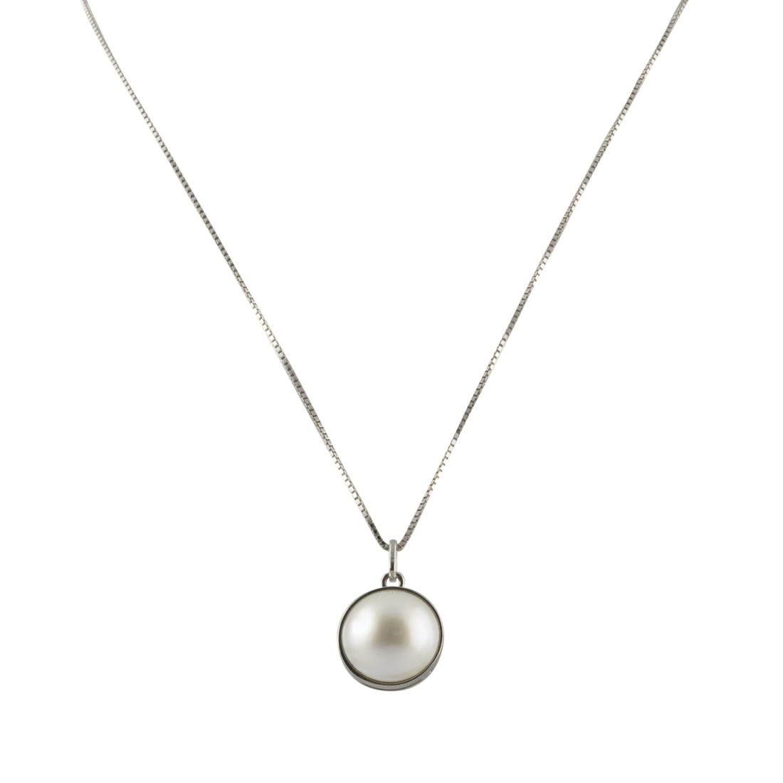 Collana in oro bianco con perla  - ROBERTO DEMEGLIO