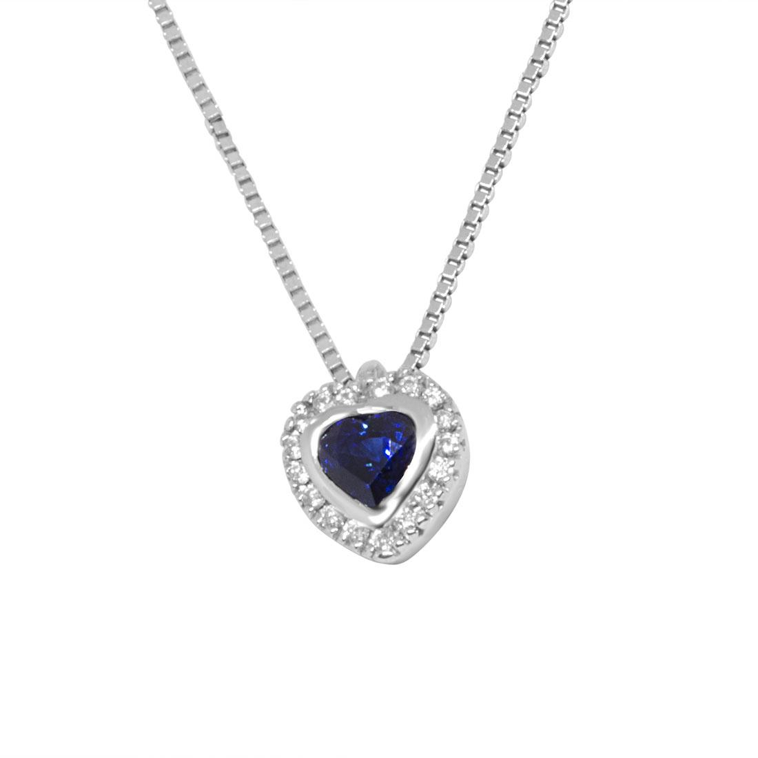 Collana in oro bianco, pendente a cuore con diamanti e zaffiro - ALFIERI ST JOHN