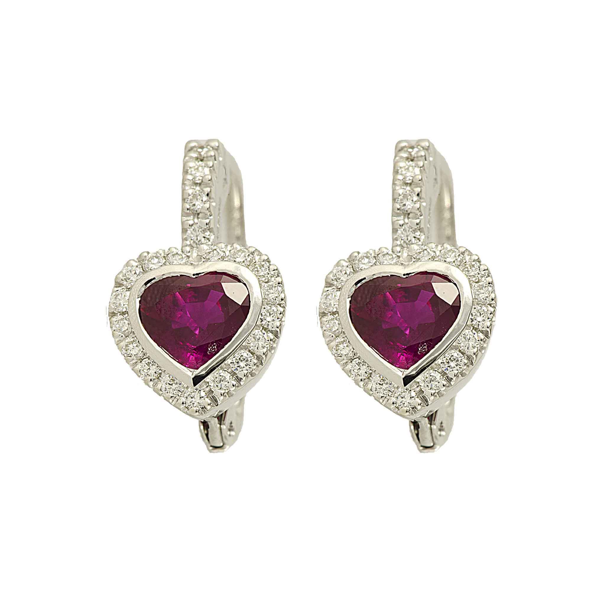 Orecchini in oro bianco con diamanti e rubini - ALFIERI & ST. JOHN