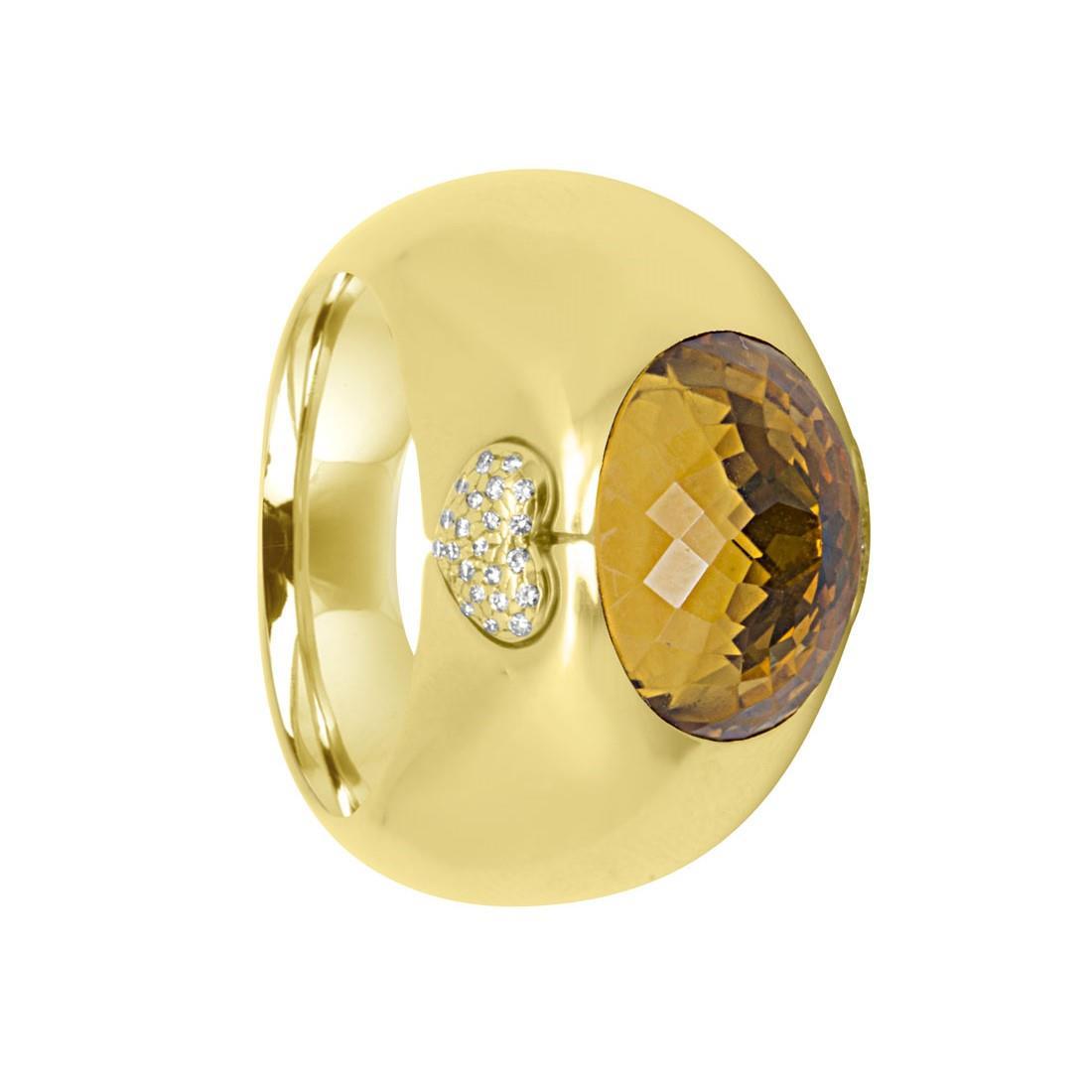 Anello a fascia in oro giallo con diamanti e pietra semipreziosa - CHOPARD