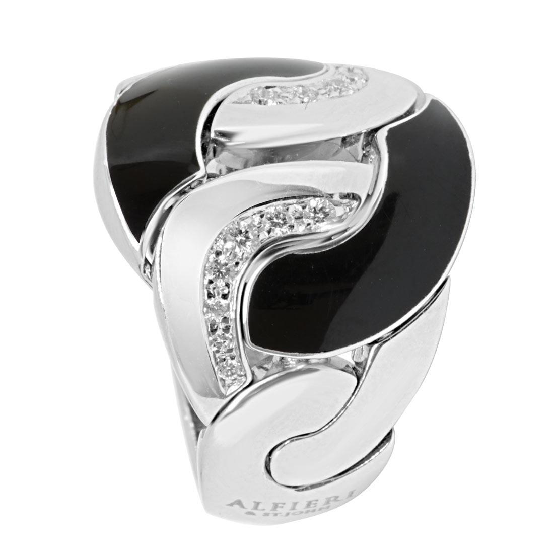 Anello in oro bianco con diamanti e smalto nero mis 15 - ALFIERI ST JOHN