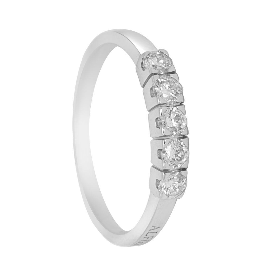 Anello in oro bianco con diamanti ct 0.40 misura 15 - ALFIERI & ST. JOHN