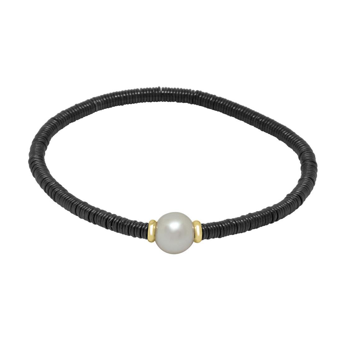 Bracciale in ceramica nera con perla - ROBERTO DEMEGLIO
