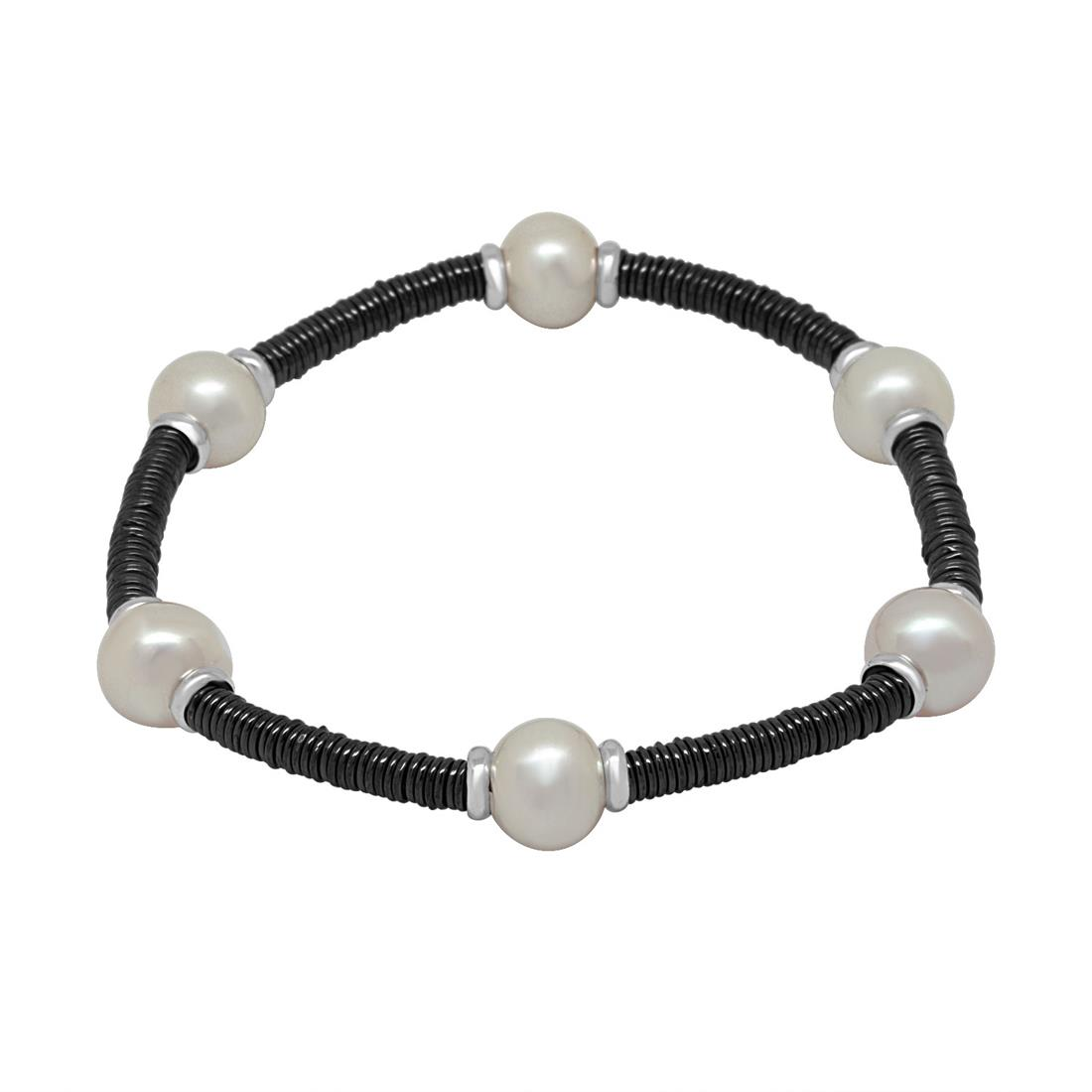 Bracciale in ceramica nera con perle - ROBERTO DEMEGLIO