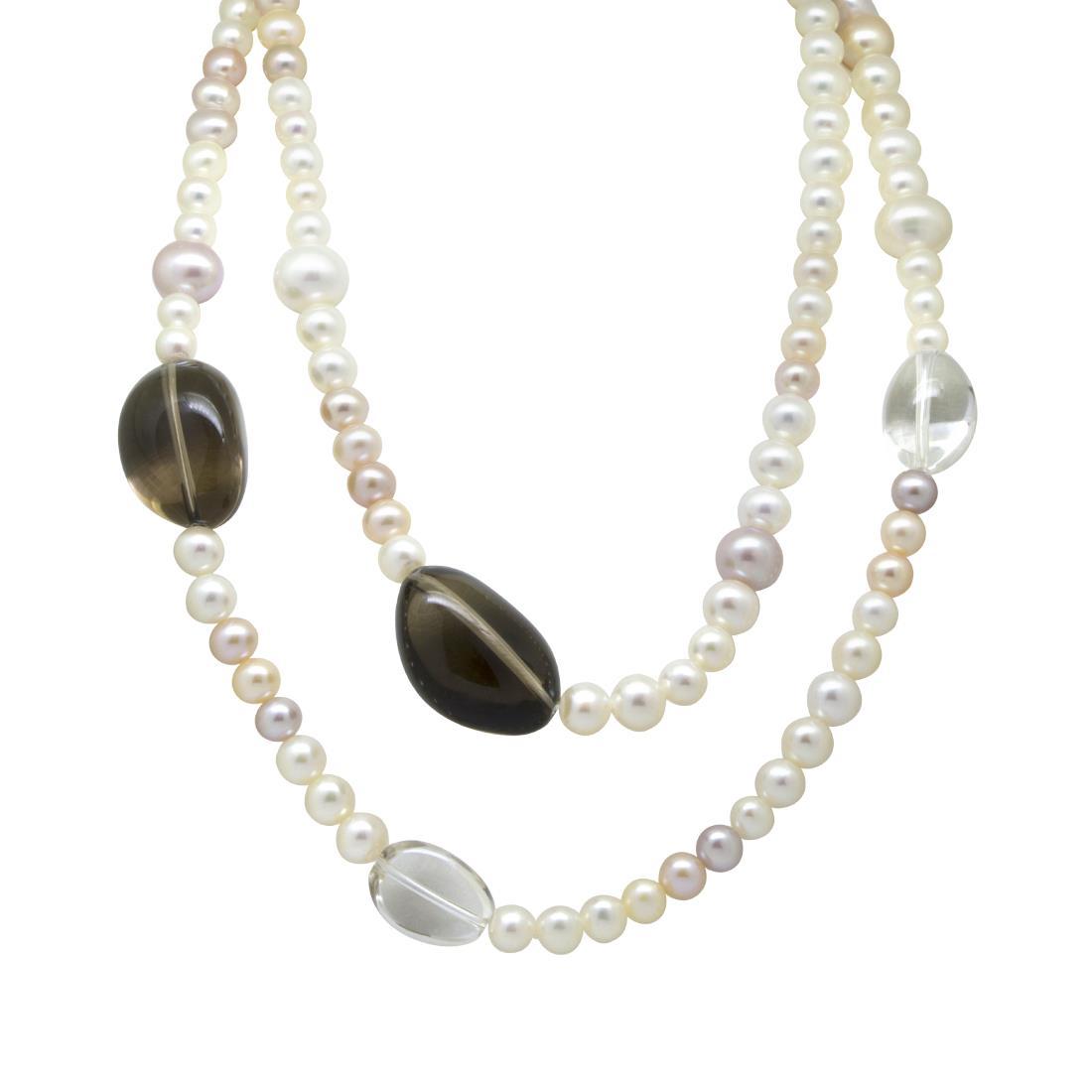 Collana in perle, cristalli di rocca e quarzo fumè - ROBERTO DEMEGLIO