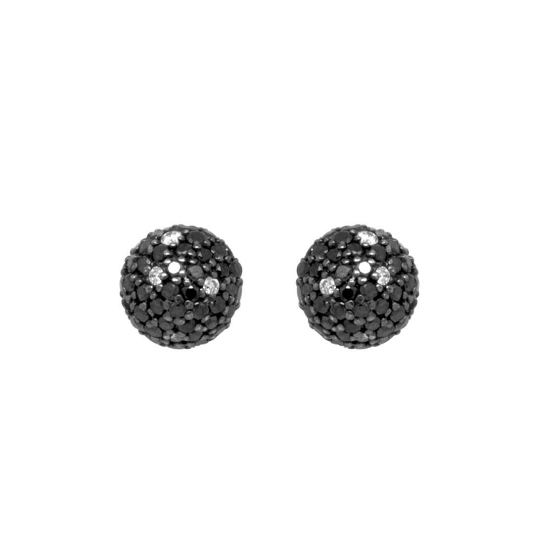 Orecchini a lobo, sfera pavé diamanti neri - ROBERTO DEMEGLIO