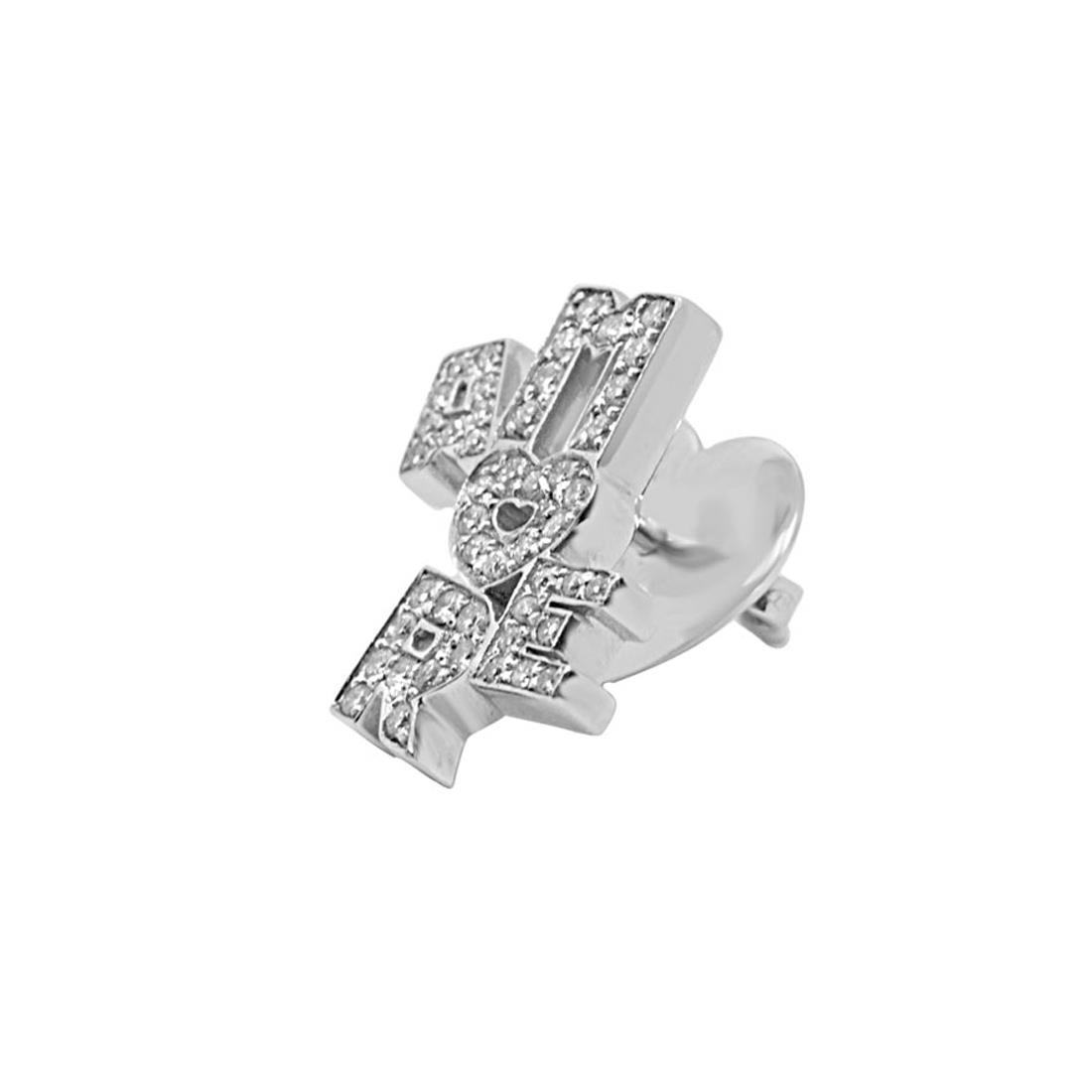 Mono orecchino lettere d'amore in oro bianco con diamanti - PASQUALE BRUNI