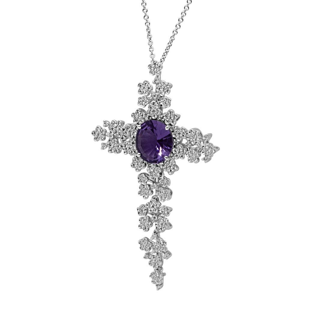 Collana in oro bianco, pendente croce con diamanti e zaffiro - PASQUALE BRUNI