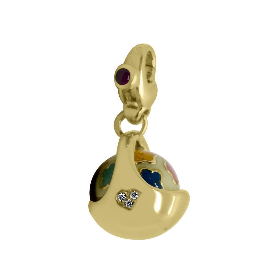 Ciondolo cestino in oro giallo con diamanti e rubini - PASQUALE BRUNI