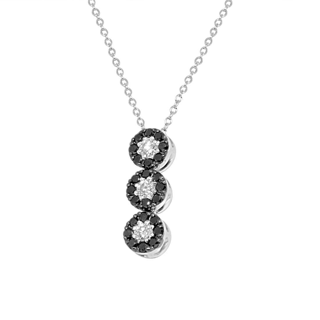 Collana in oro bianco, pendente trilogy design con diamanti - ALFIERI ST JOHN
