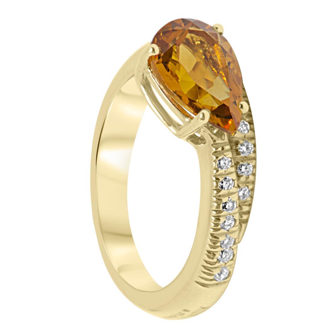 Anello in oro giallo con diamanti e pietra semipreziosa mis 13 - ALFIERI ST JOHN