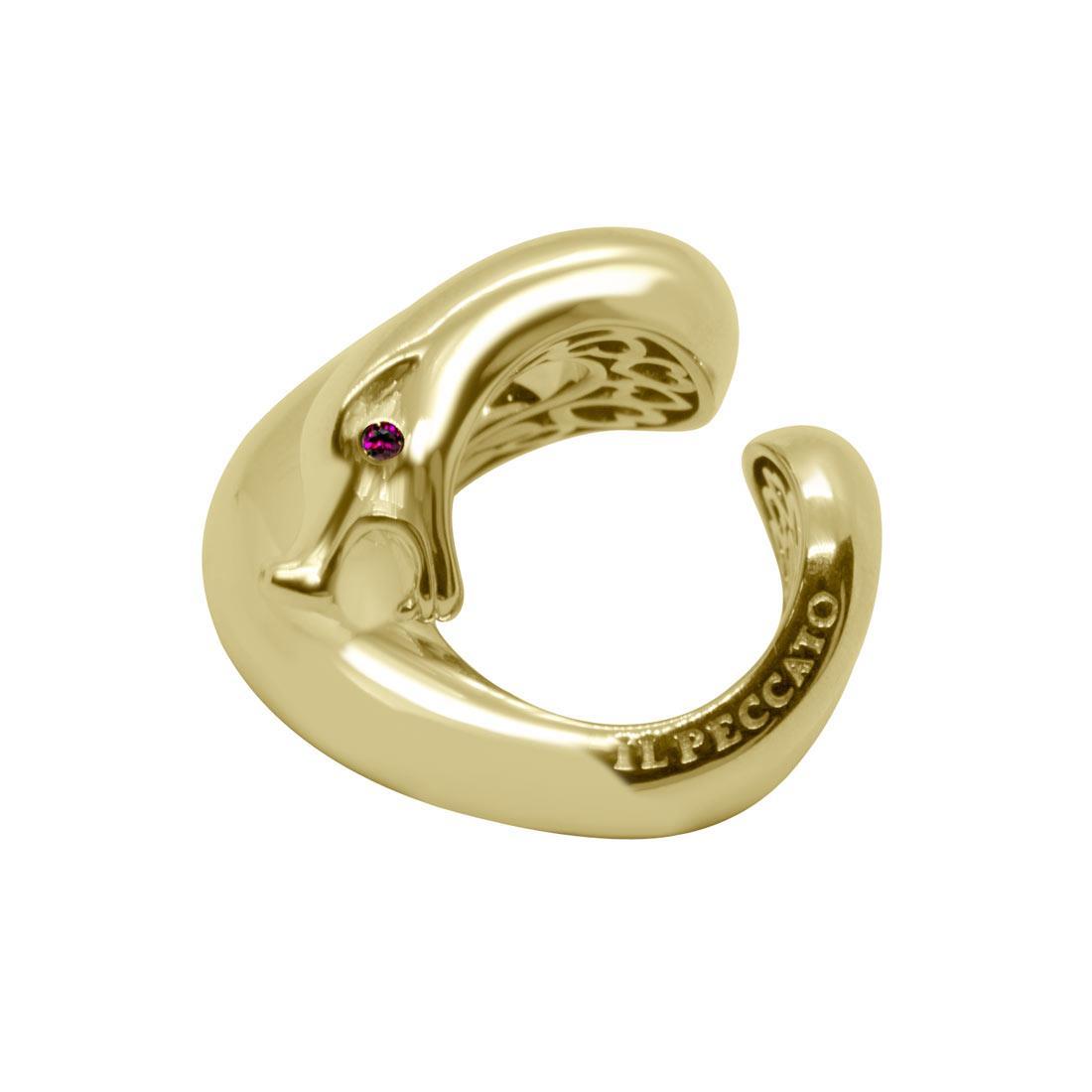 Anello in oro giallo design serpente con rubino mis 15 - PASQUALE BRUNI