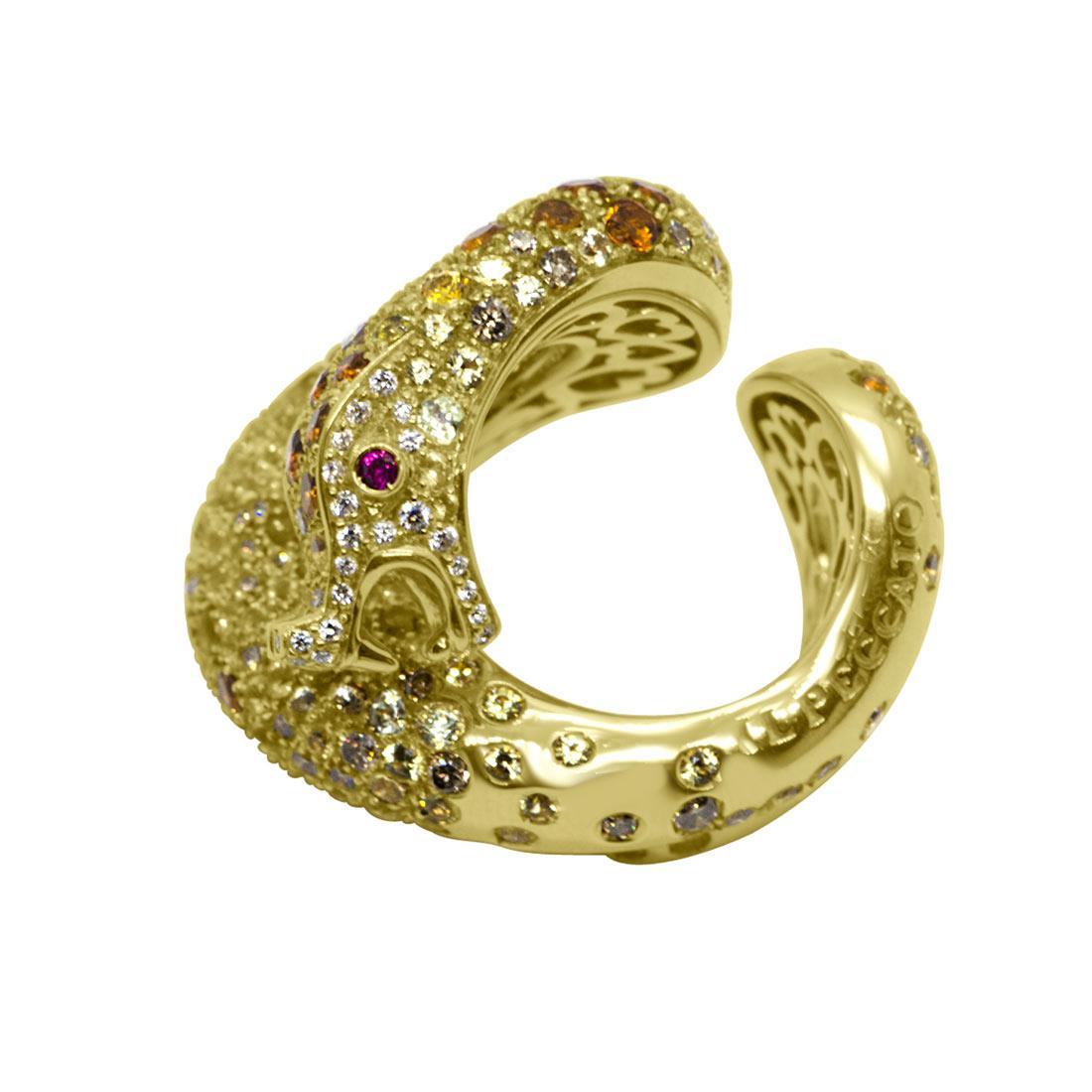 Anello in oro giallo design serpente con rubino, zaffiri e diamanti mis 13 - PASQUALE BRUNI