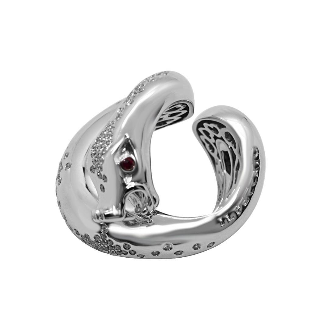Anello in oro bianco design serpente con rubino e diamanti mis 10 - PASQUALE BRUNI