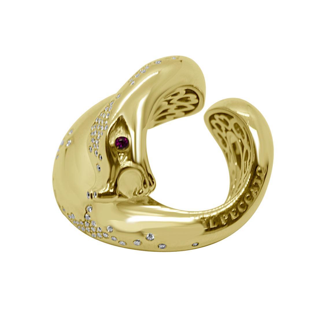 Anello in oro giallo design serpente con rubino e diamanti mis 13 - PASQUALE BRUNI