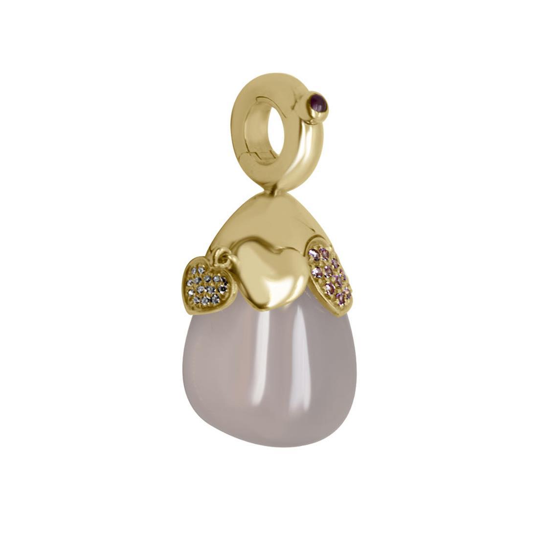 Ciondolo in oro rosso con diamanti, rubini e zaffiri - PASQUALE BRUNI