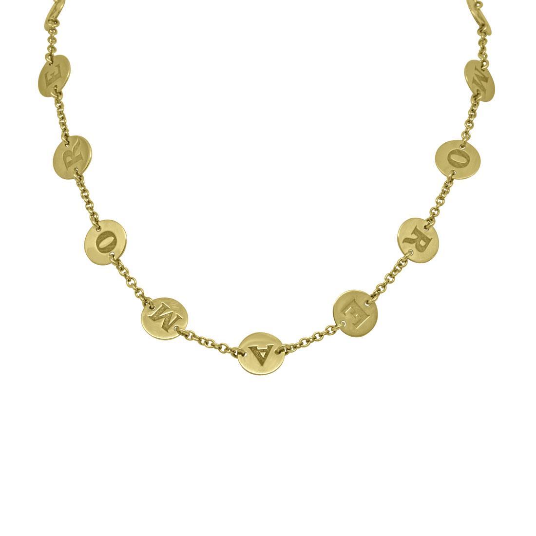 Collanai in oro giallo con medaglie amore, lunghezza 47cm con varie possibilità di chiusura - PASQUALE BRUNI