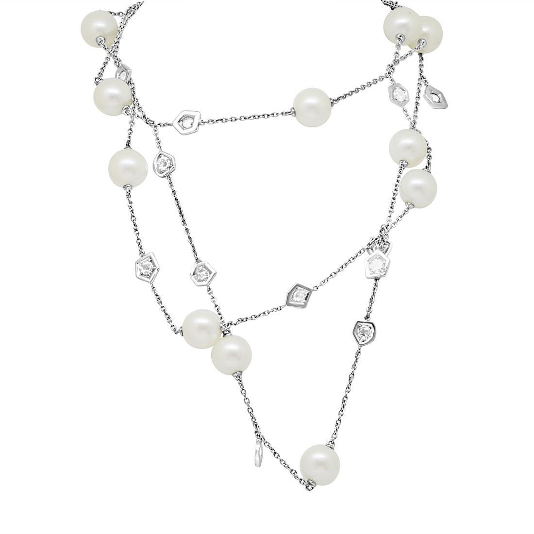 Collana Mimì in oro bianco con diamanti  - MIMI