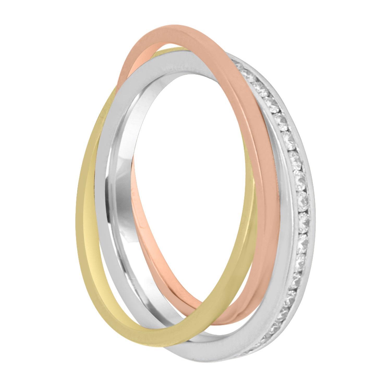 Anello veretta in oro bianco, giallo, rosa e diamanti, misura 13,5 - ALFIERI & ST. JOHN