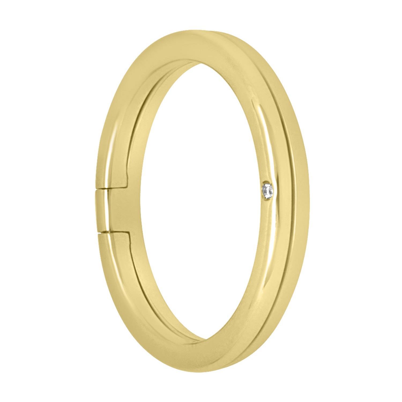 Anello fede in oro giallo con diamante, misura 12 - ALFIERI & ST. JOHN
