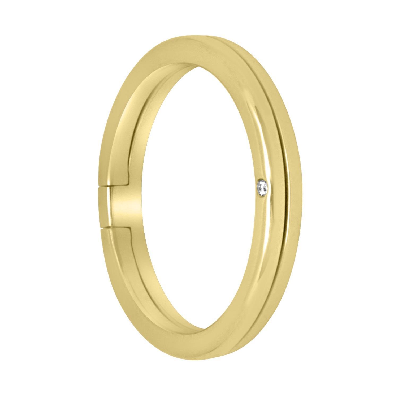Anello fede in oro giallo con diamante, misura 22 - ALFIERI & ST. JOHN