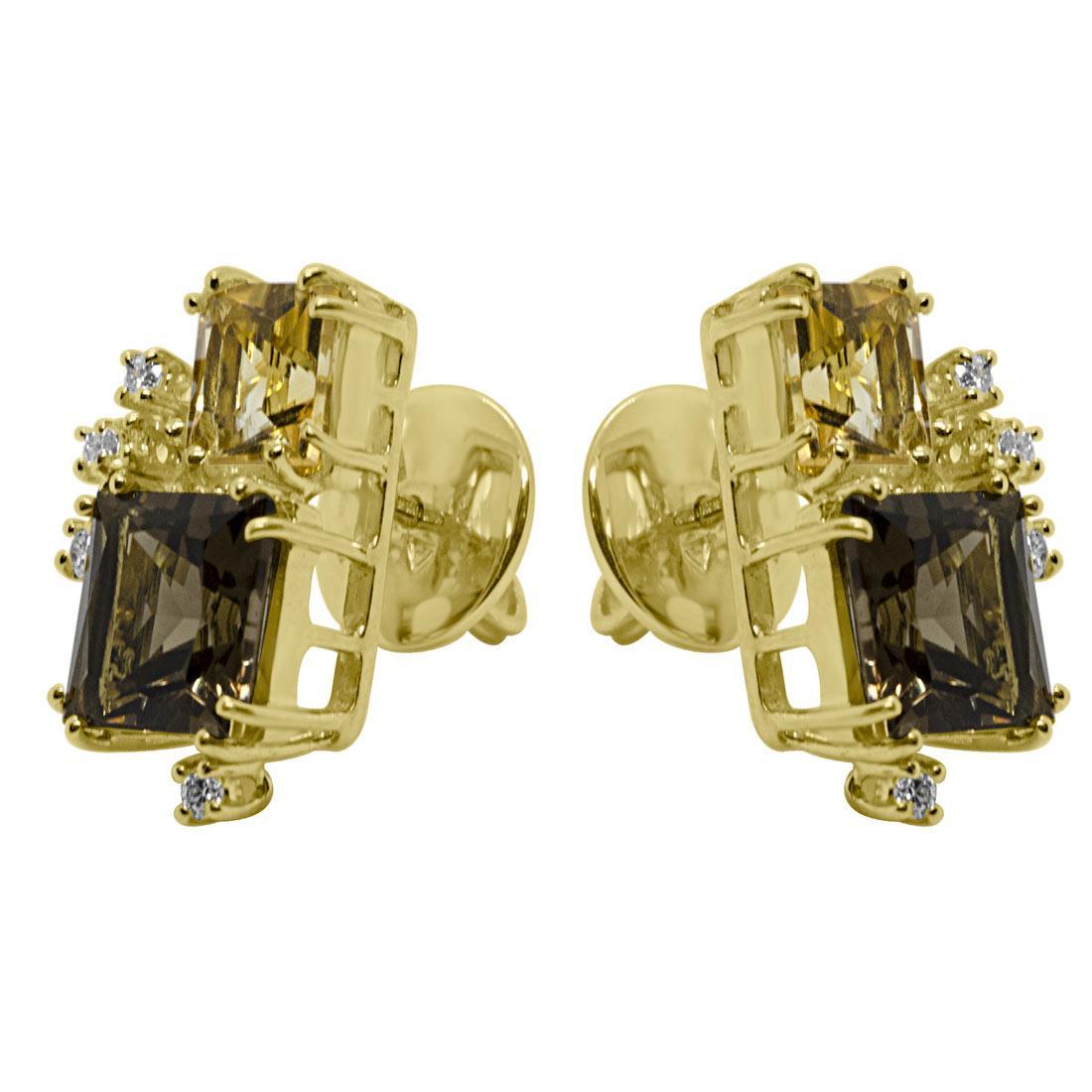 Orecchini in giallo con diamanti e pietre semipreziose - SALVINI