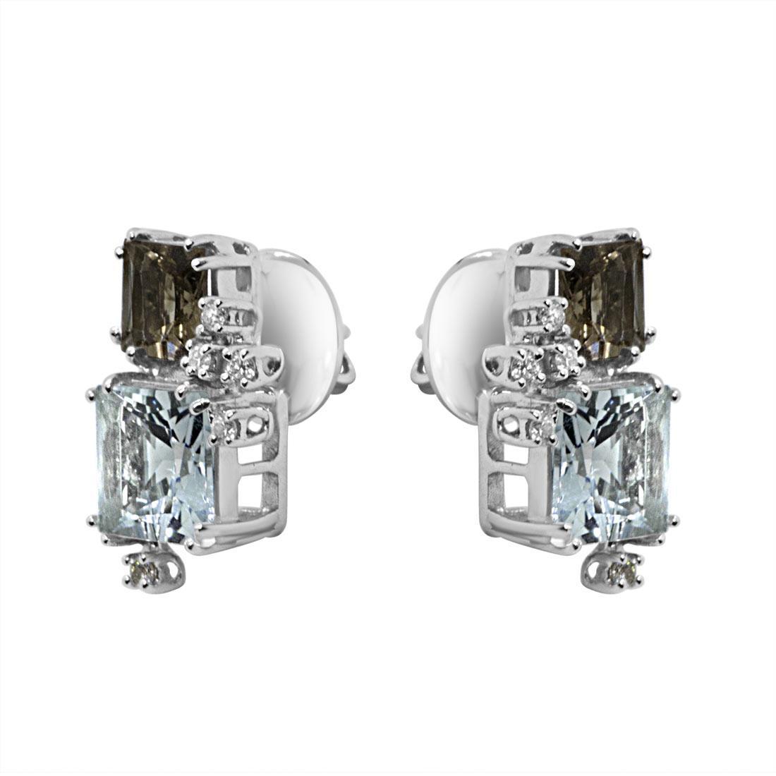 Orecchini in oro bianco con diamanti e pietre semipreziose - SALVINI