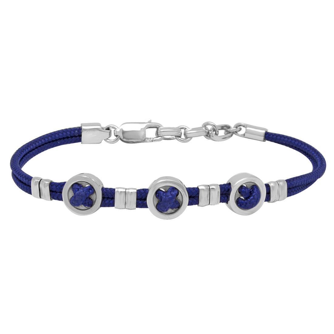 Bracciale in acciaio con blu, misura 20,5cm - ZANCAN