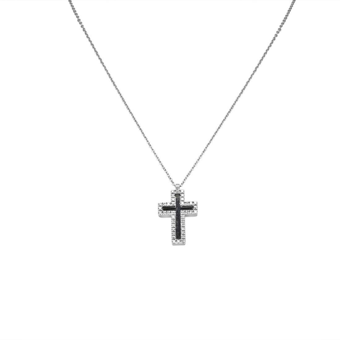 Collier Alfieri & St. John in oro bianco con ciondolo croce in diamanti bianchi - ALFIERI & ST.JOHN