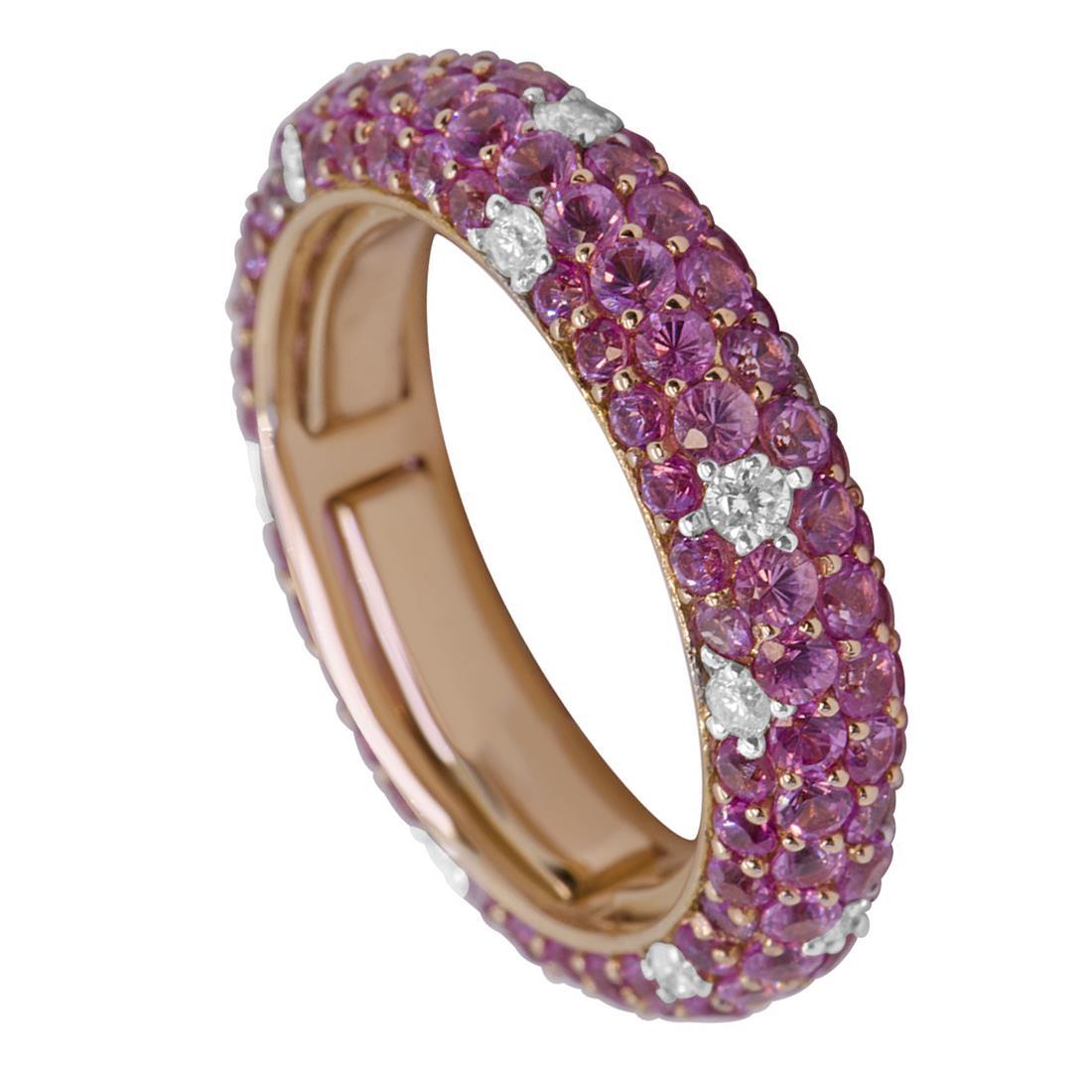 Anello pavé Oro & Co in oro rosa con diamanti  mis 9 - ORO&CO