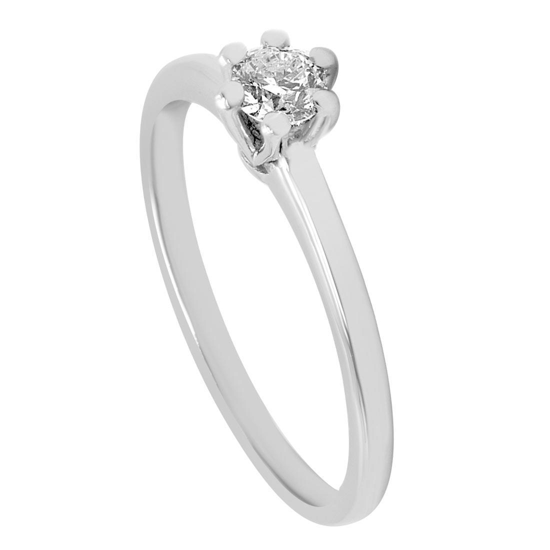 Anello solitario in oro bianco con diamante 0,25 ct mis 14 - ORO&CO