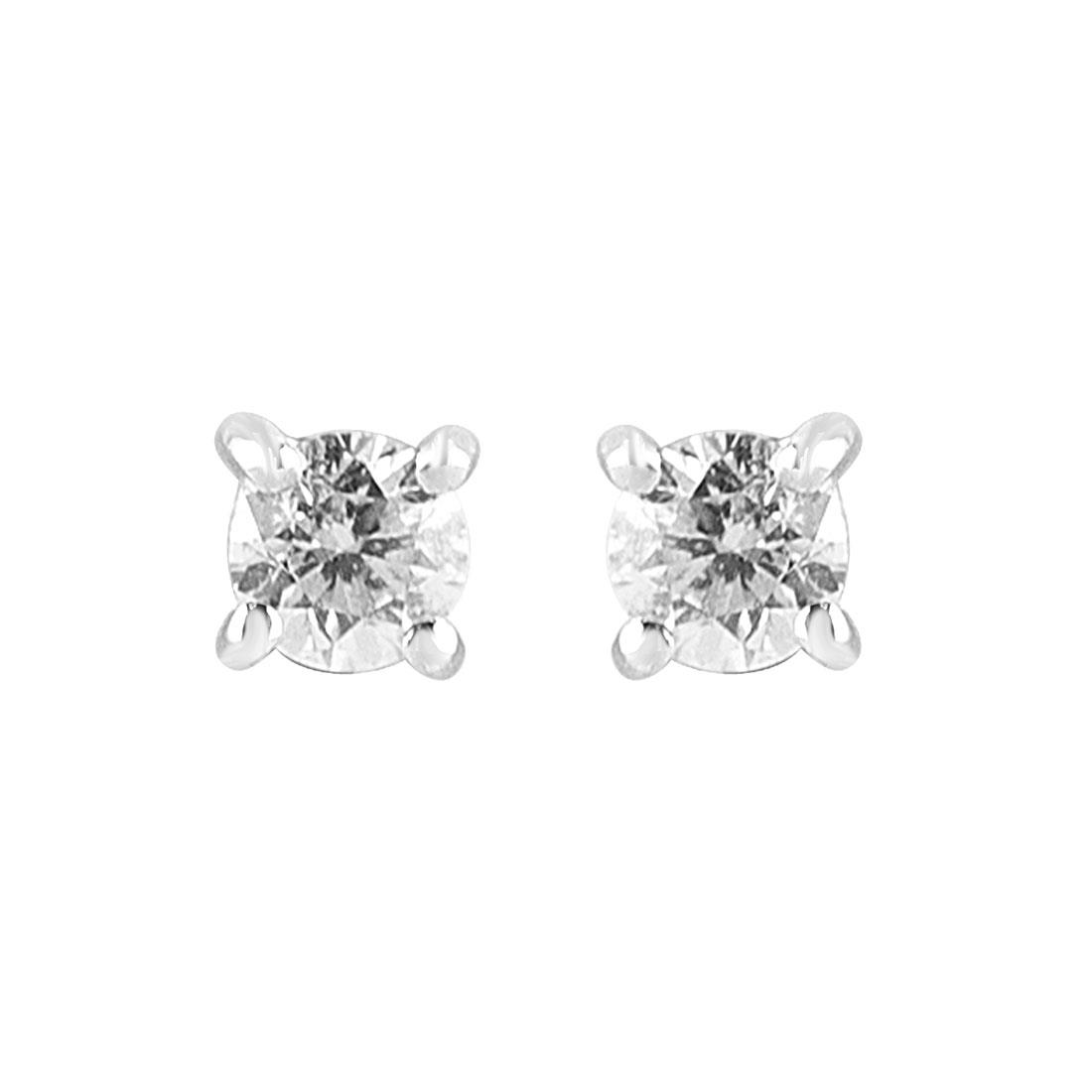 Orecchini punto luce in oro bianco con diamanti ct 0.20 - ORO&CO