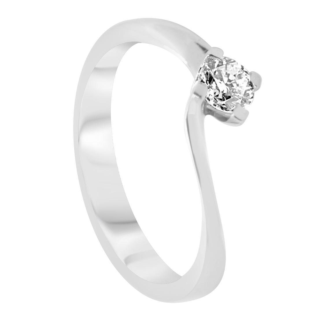 Anello solitario in oro bianco con diamante 0,25 ct mis 15 - ORO&CO