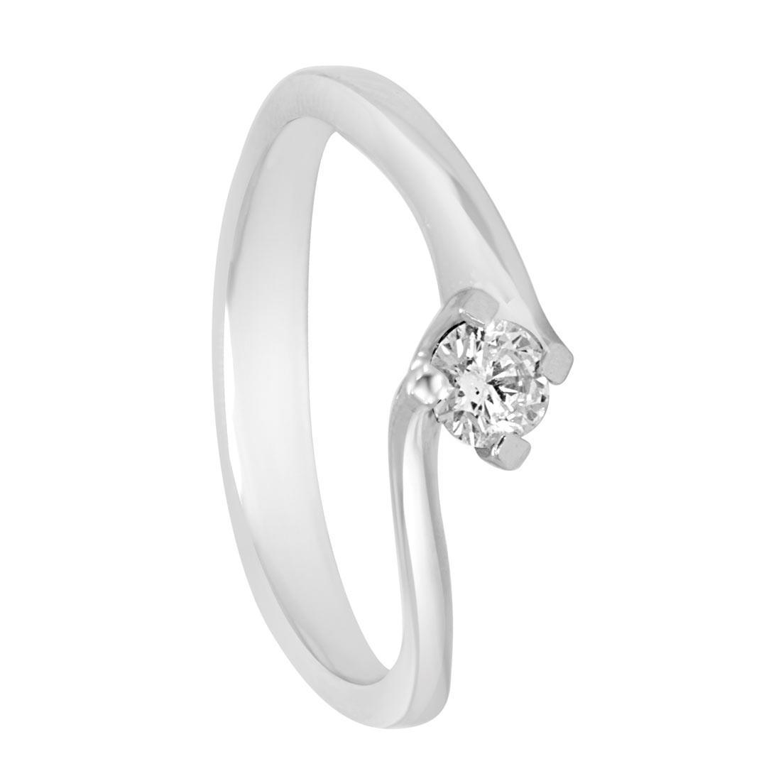 Anello in oro bianco con diamante ct 0.25 misura 15 - ORO&CO