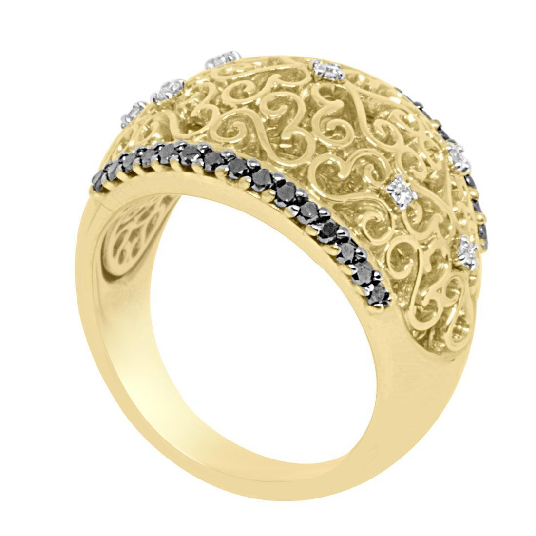 Anello a fascia in oro giallo con diamanti mis 14 - ALFIERI ST JOHN
