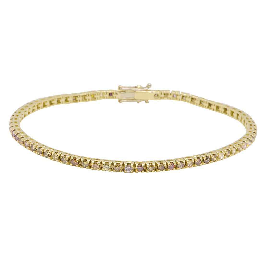 Bracciale tennis in oro giallo con diamanti 2,25 ct - ORO&CO