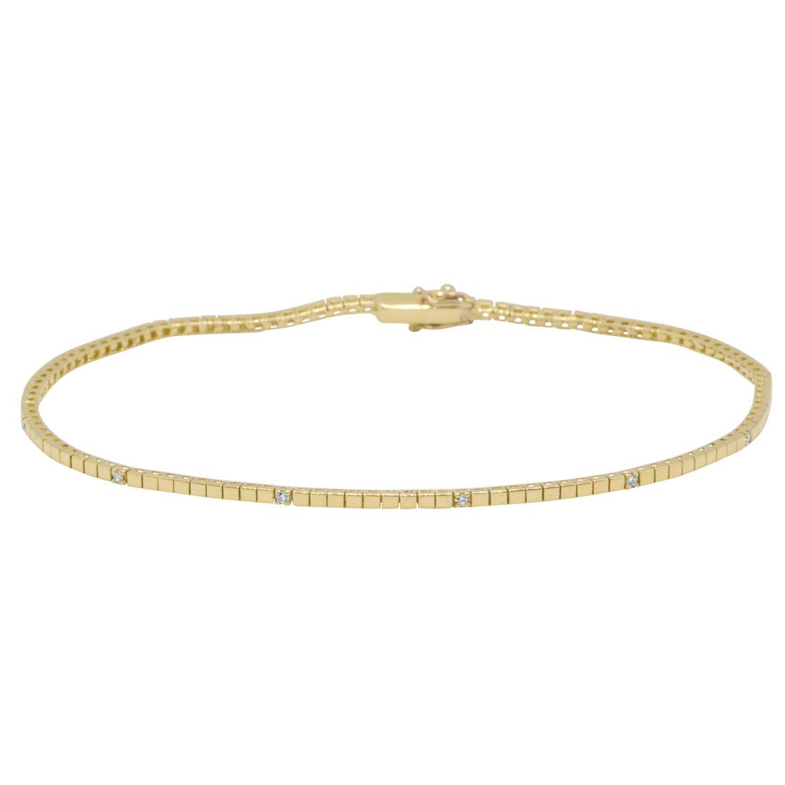 Bracciale tennis in oro giallo con diamanti 0,08 ct - ORO&CO
