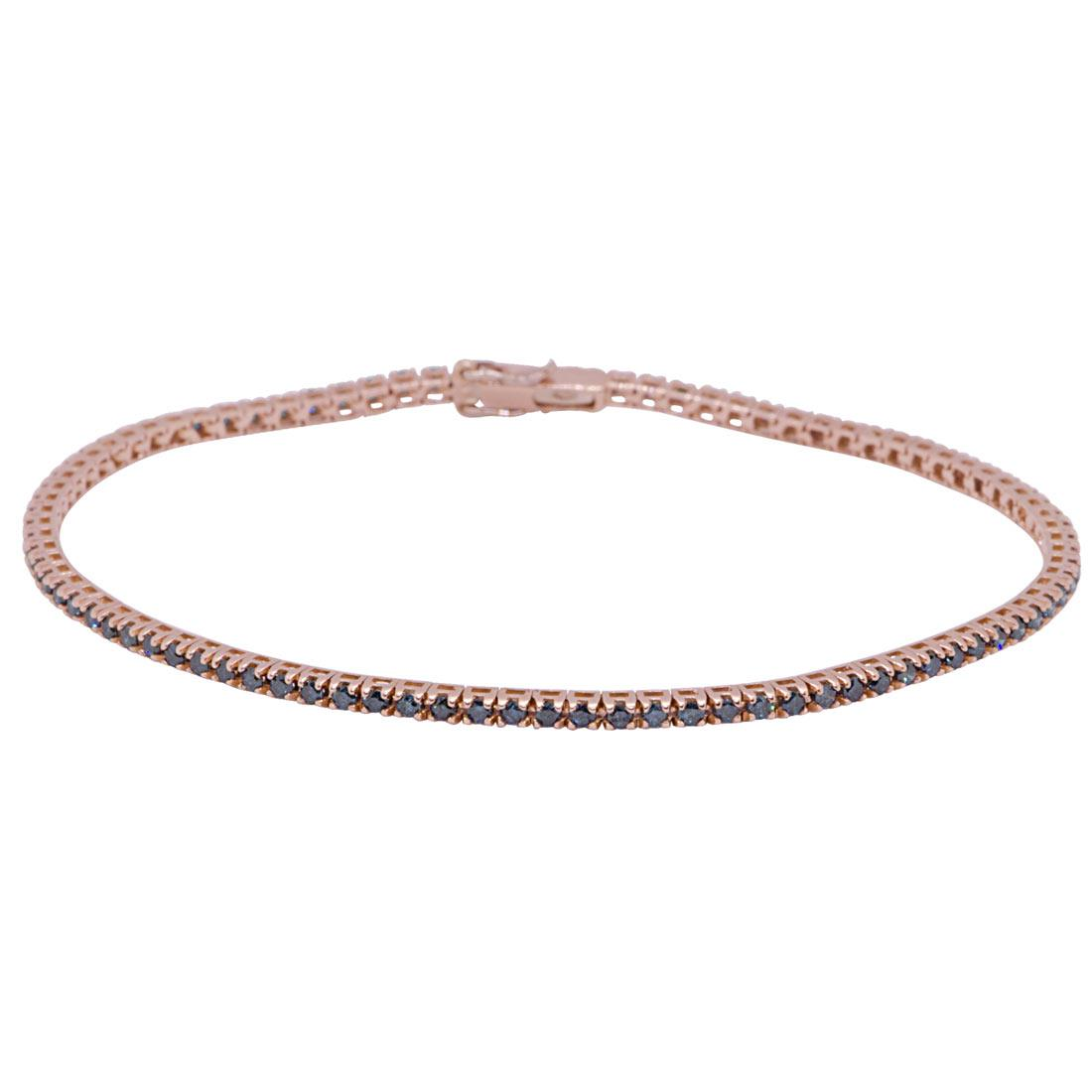 Bracciale tennis in oro rosa con diamanti neri 1,35 ct - ORO&CO