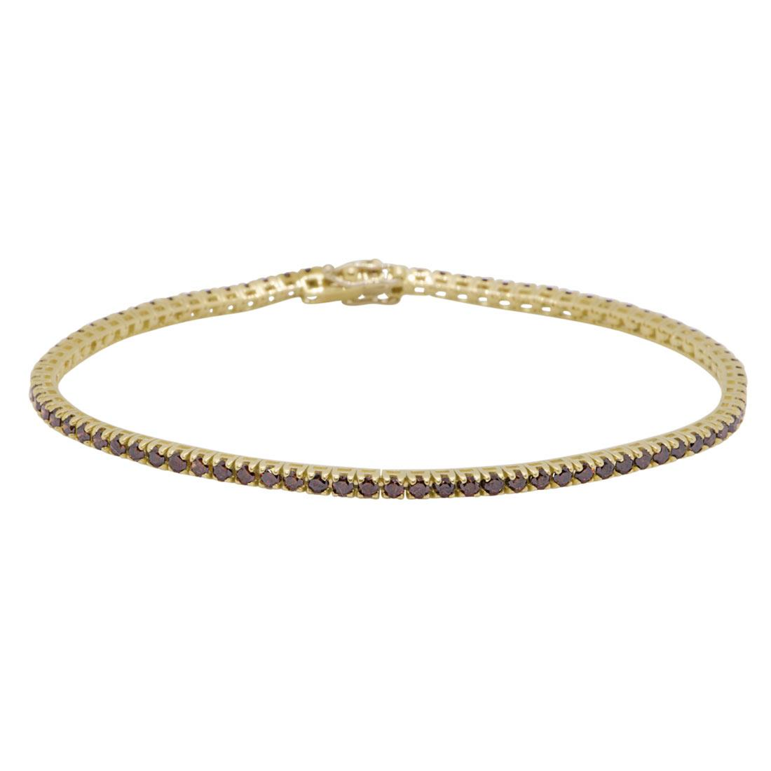 Bracciale tennis in oro giallo con diamanti brown 2,35 ct - ORO&CO