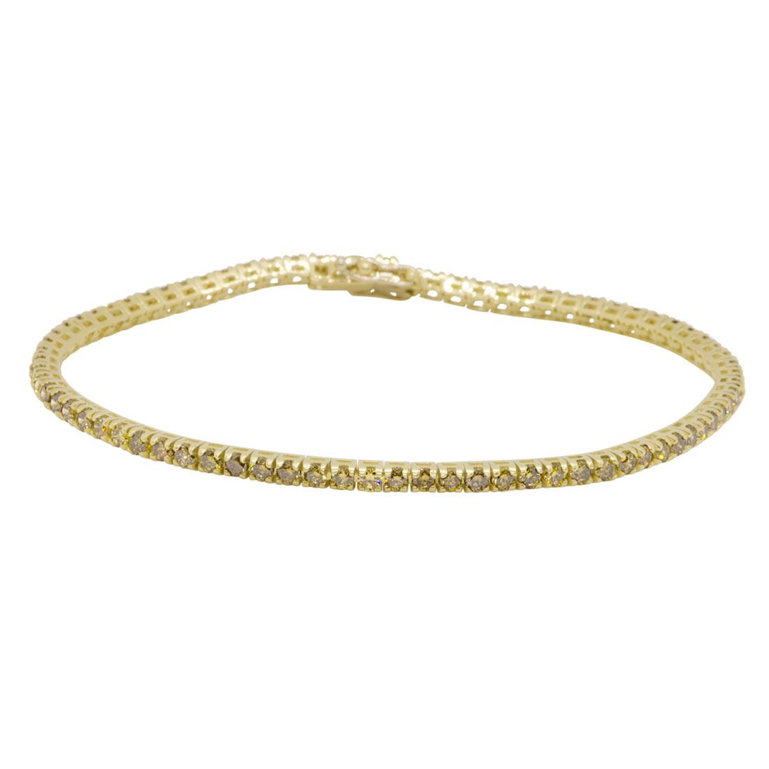 Bracciale tennis in oro giallo con diamanti 2,85 ct - ORO&CO