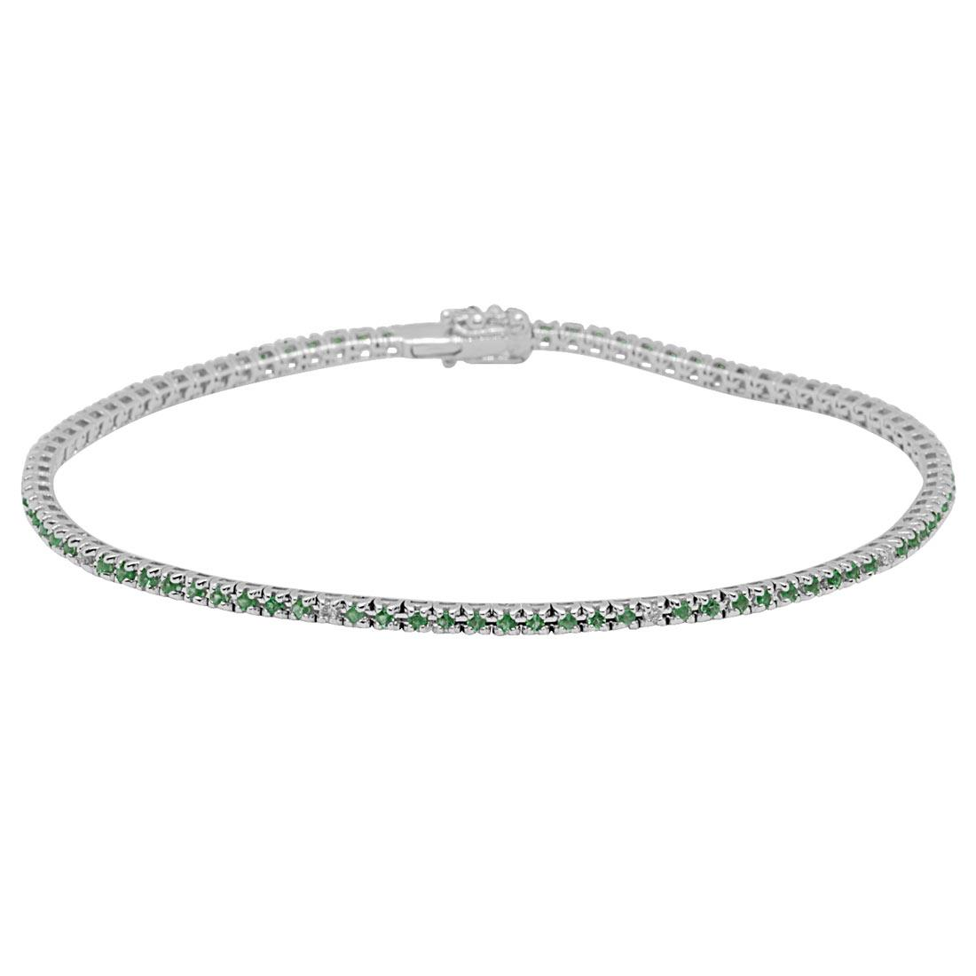 Bracciale tennis in oro bianco con smeraldi e diamanti - ORO&CO