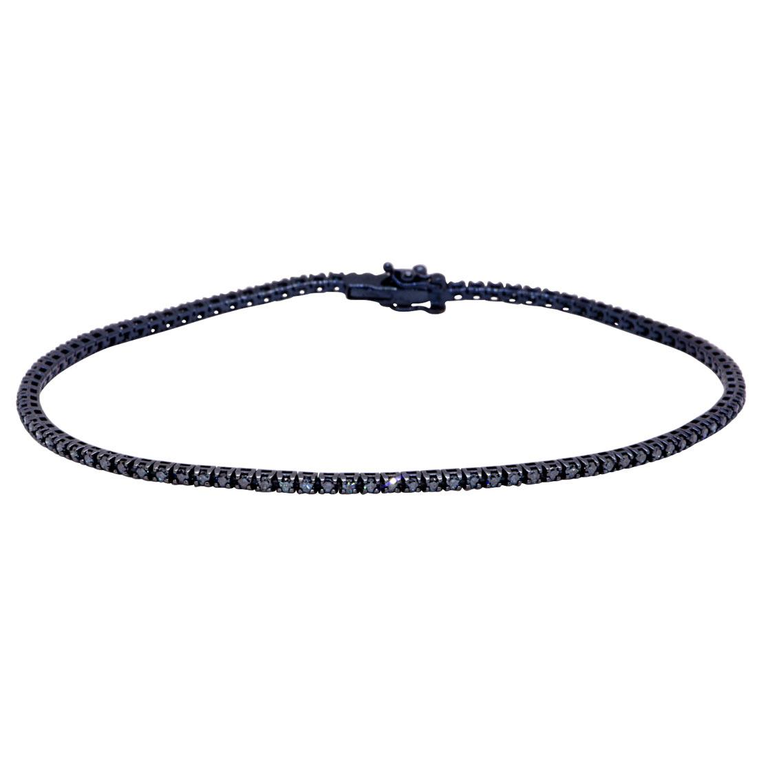 Bracciale tennis in oro blu con diamanti blu 0,85 ct - ORO&CO
