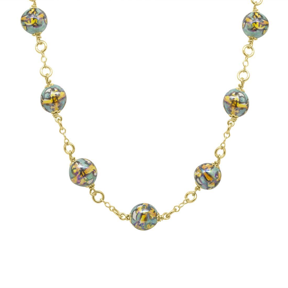 Collana in argento con 11 perle in ceramica - LE PERLE DI CALTAGIRONE