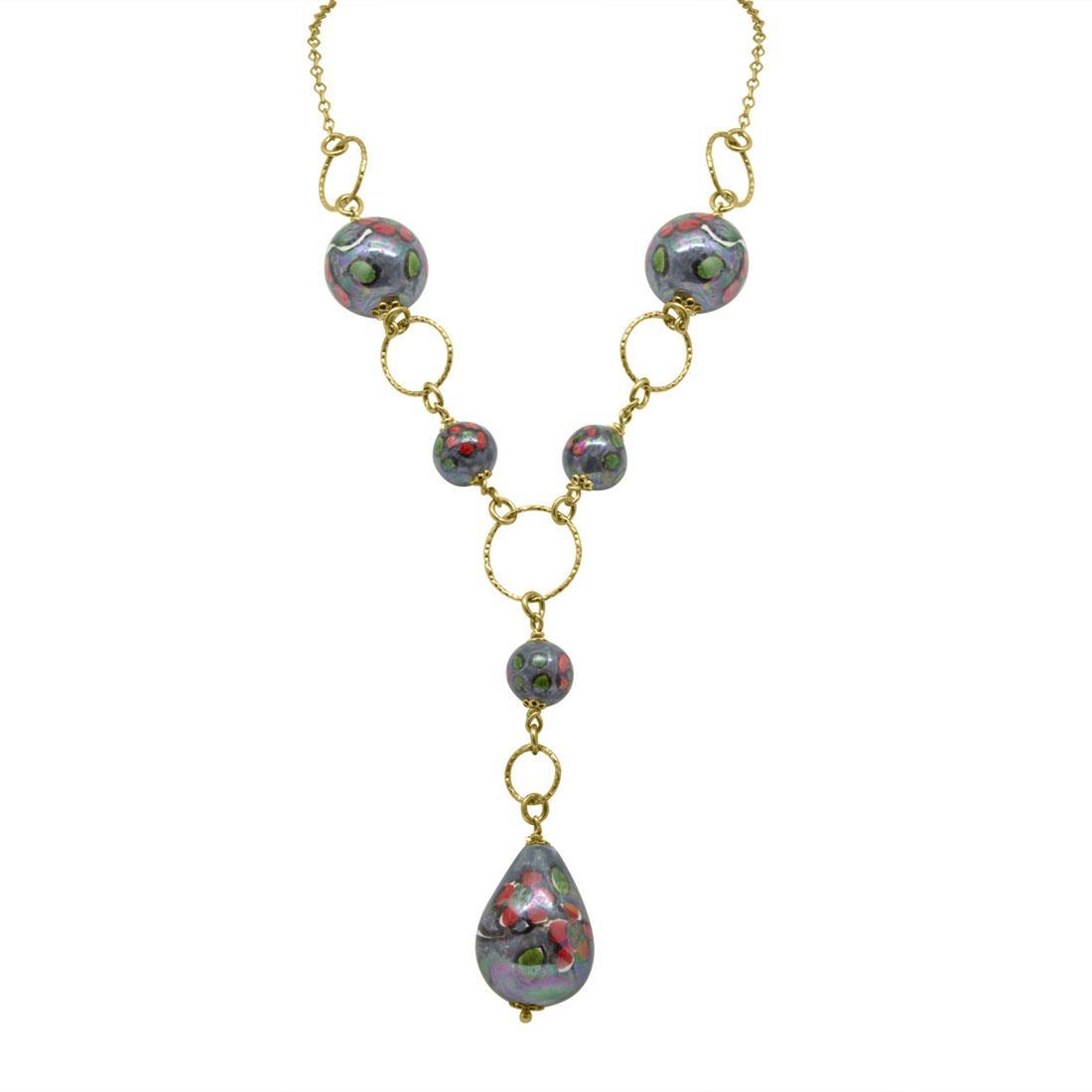 Collana in argento con perle in ceramica - LE PERLE DI CALTAGIRONE