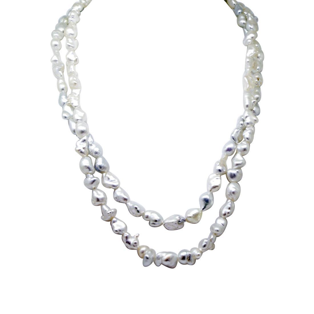 Collana con due fili di perle barocche e diamanti - DAMIANI