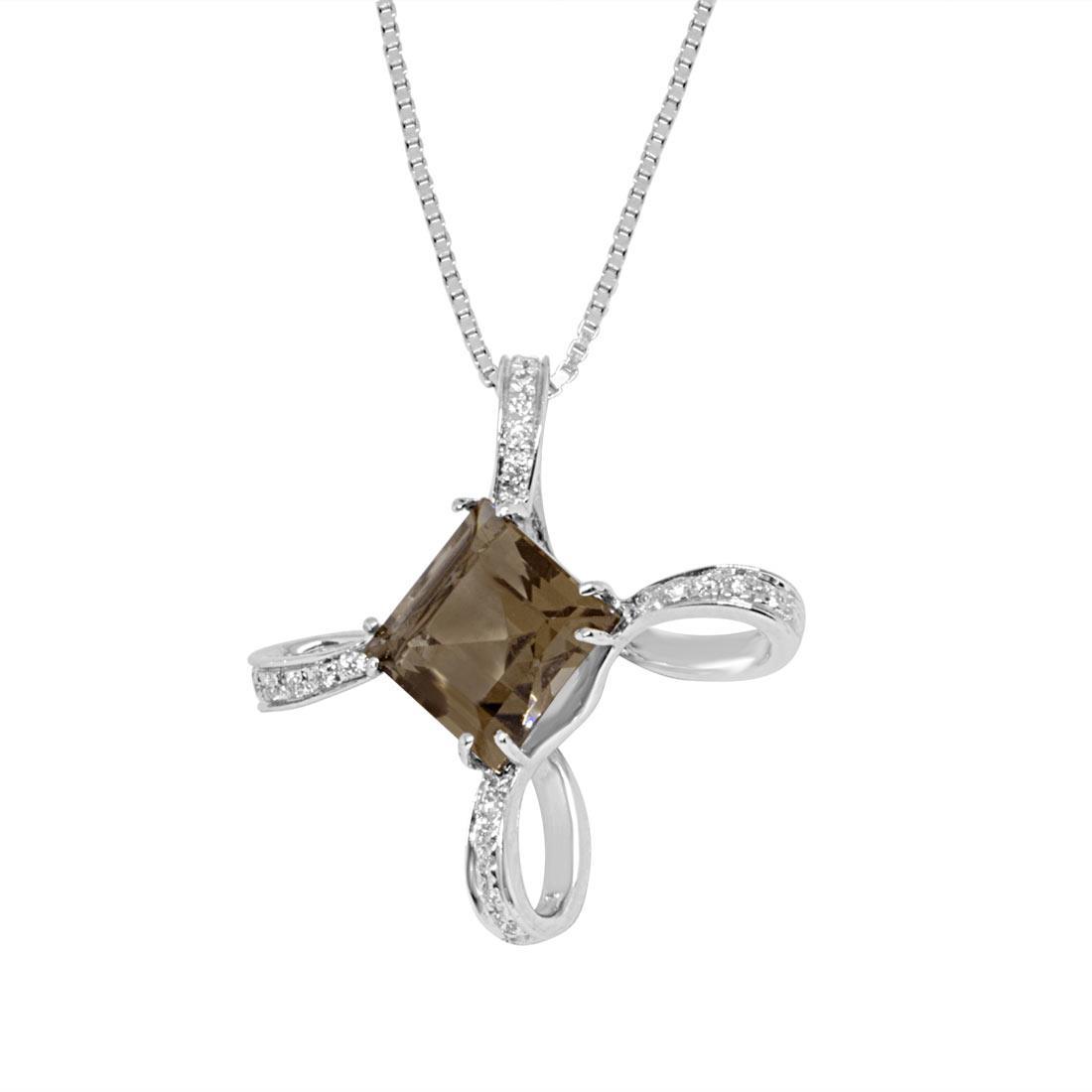 Collana in oro bianco, pendente con diamanti e quarzo fumé - ALFIERI ST JOHN