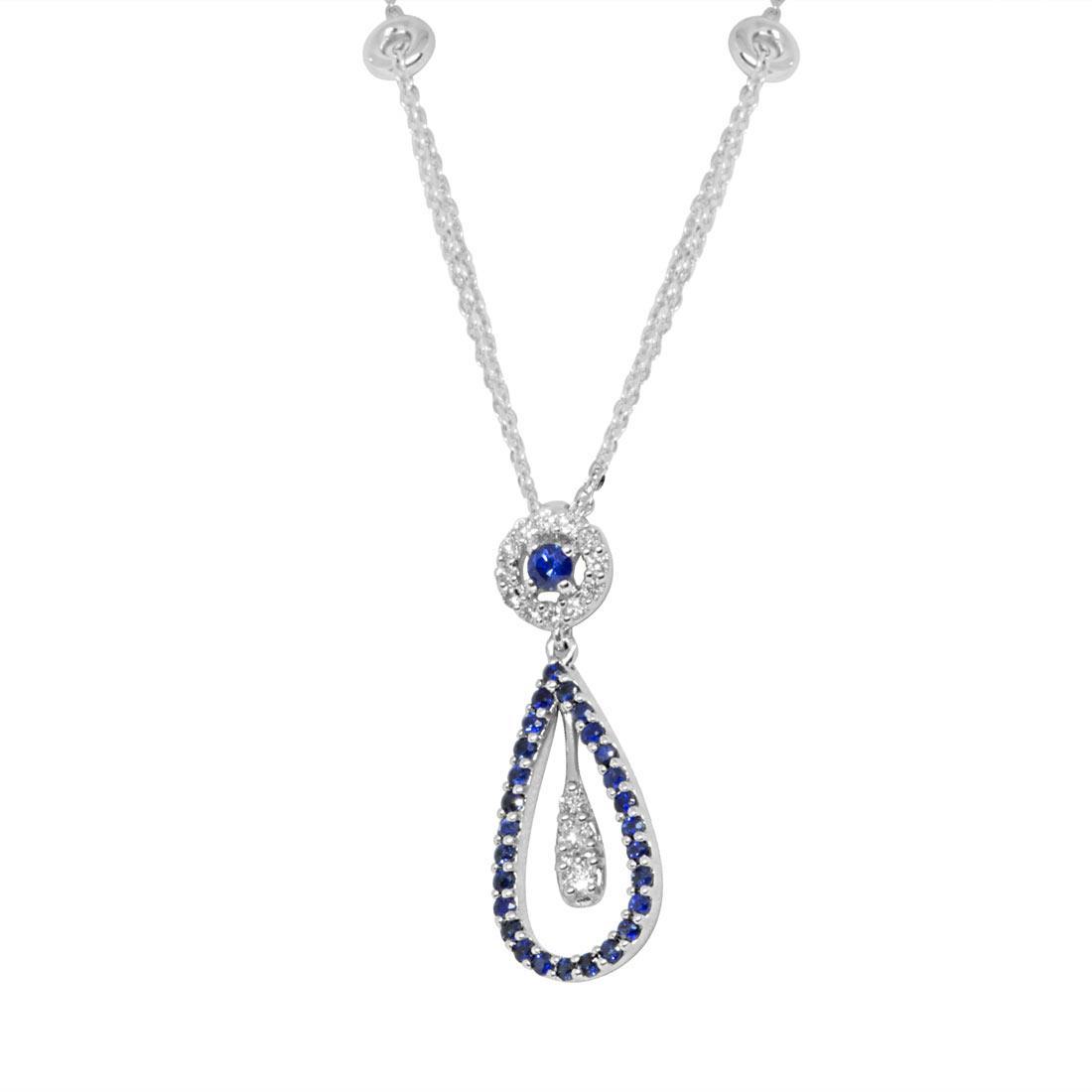 Collana in oro bianco, pendente con zaffiri e diamanti  - ALFIERI ST JOHN