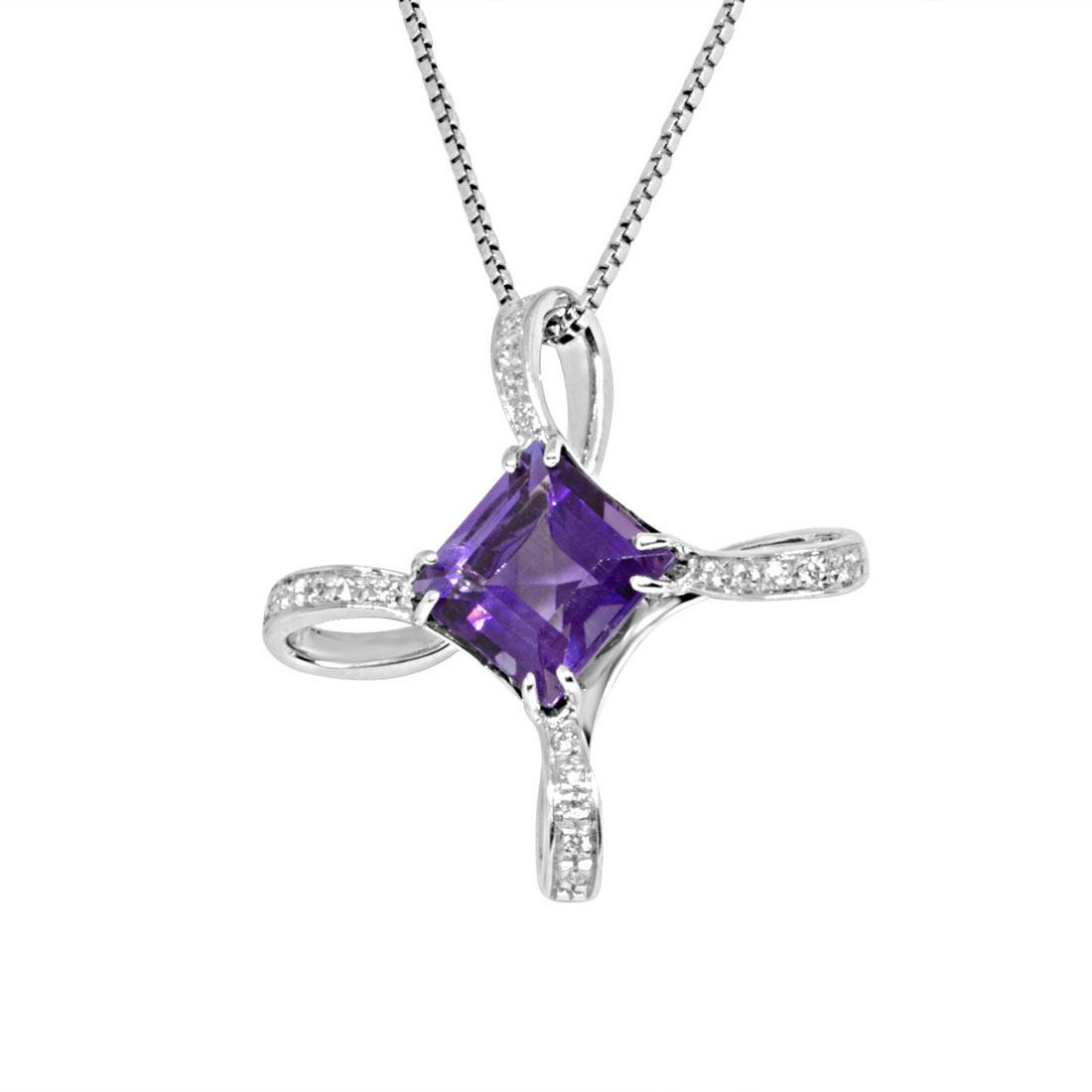 Collana in oro bianco, pendente con diamanti e ametista - ALFIERI ST JOHN