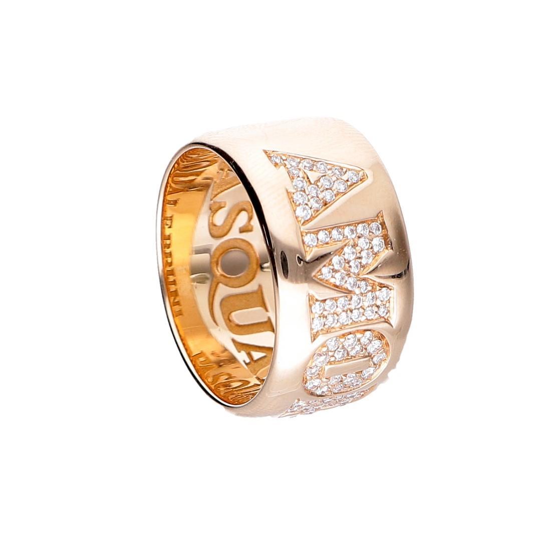 Anello Pasquale Bruni in oro rosa Amore con diamanti cts 0,47 - PASQUALE BRUNI